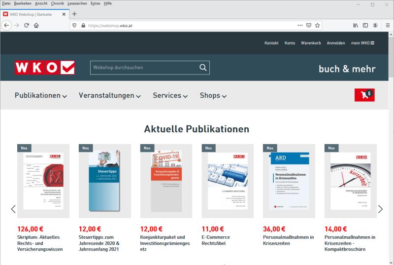 Webshop für die Wirtschaftskammer Österreich